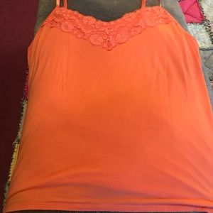 Dress Barn Plus Size Lace Trim Cami Peach Size 2X